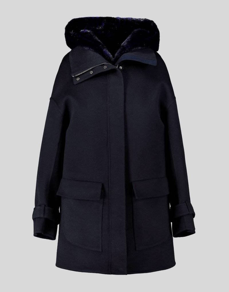 WOOL AND CASHMERE BLEND PARKA WITH MINK