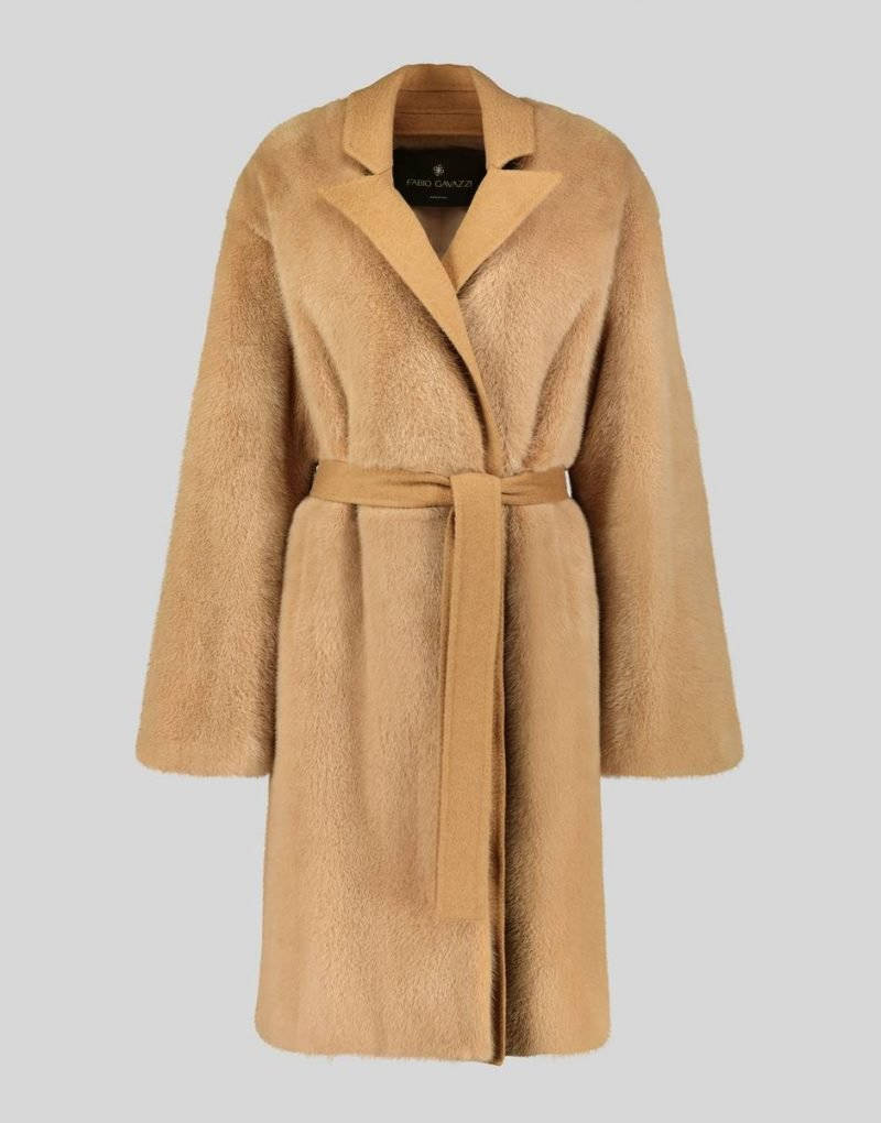 CAMEL HAIR COAT WITH MINK