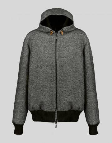 WOOL BOMBER JACKET WITH PLUCKED MINK