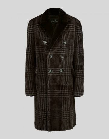 PRINTED DOUBLE-BREASTED MINK COAT