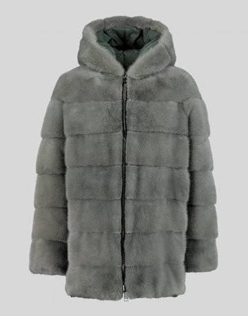 REVERSIBLE HOODED DOWN JACKET WITH MINK