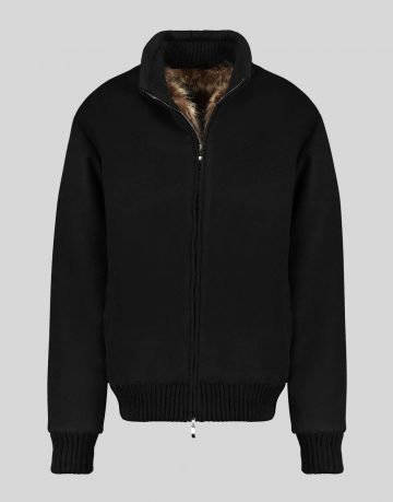 CASHMERE BLEND BOMBER JACKET WITH RACCOON