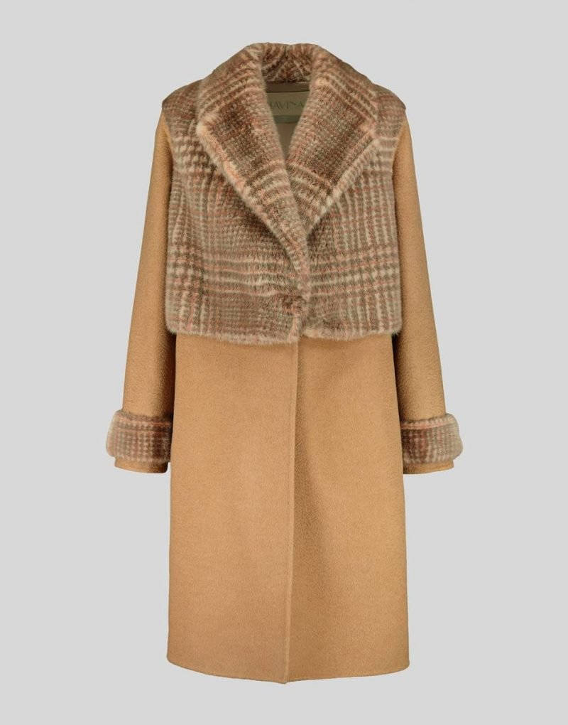 CAMEL HAIR COAT WITH PRINTED MINK